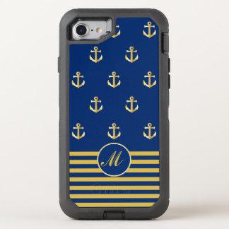 Modischer Marine-und Goldanker-Entwurf OtterBox Defender iPhone 8/7 Hülle
