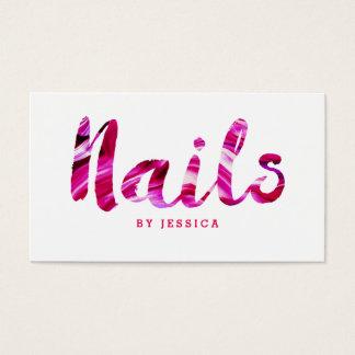 Modischer moderner rosa Nagel-Techniker Visitenkarte