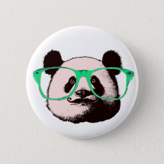 Modischer Panda-Bärn-Gesichts-Glas-Schnurrbart Runder Button 5,7 Cm
