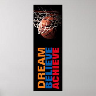 Modischer Traum glauben erzielen Basketball-Tür Poster