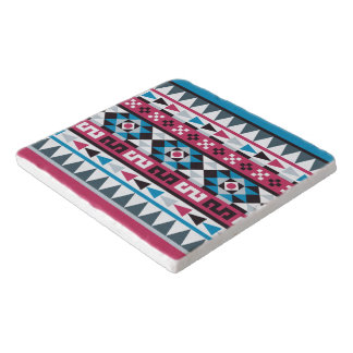 Modisches Blau-und Himbeerazteke-Muster Töpfeuntersetzer