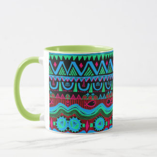 Modisches Girly rosa blaues Stammes- Muster Tasse