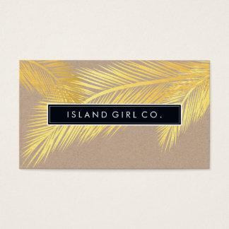 Modisches Gold Kraftpapier des MODERNEN TROPISCHEN Visitenkarte