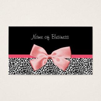 Modisches Schwarzweiss-Leopard-Druck-Rosa-Band Visitenkarte