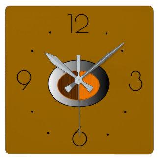 Modisches TAN mit silbernen centre> Küchen-Uhren Quadratische Wanduhr