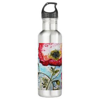 Mohnblumen-Aquarell-Kunst-rostfreies Wasser Btl Trinkflasche
