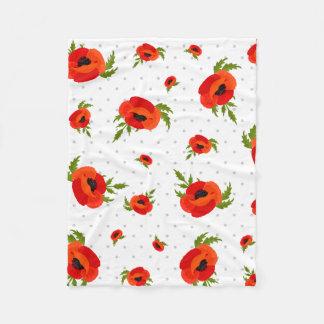 Mohnblumen-Blumen Fleecedecke