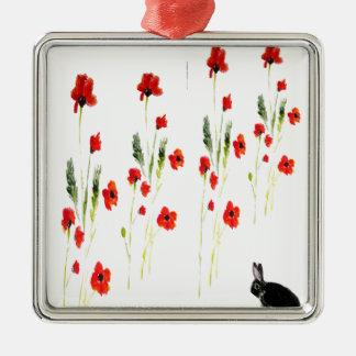 Mohnblumen-Blumen-Häschen-Kaninchen Silbernes Ornament
