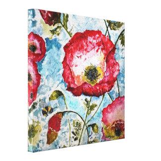 Mohnblumen-Hummelwatercolor-Leinwand-Druck 10x10 Leinwanddruck