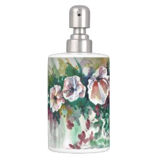 Mohnblumen im Watercolor-Bad-Set Seifenspender & Zahnbürstenhalter