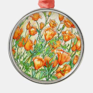 Mohnblumen Silbernes Ornament
