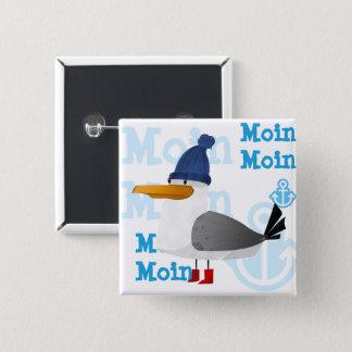"""""""Moin Moin"""" Seemöwe Quadratischer Button 5,1 Cm"""