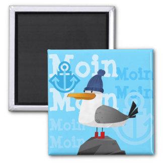 """""""Moin Moin"""" Seemöwe Quadratischer Magnet"""