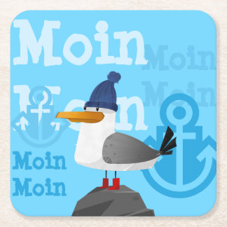 """""""Moin Moin"""" Seemöwe Rechteckiger Pappuntersetzer"""