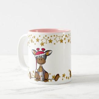 Mok kerst Hip en Feestelijk met lief girafje Zweifarbige Tasse