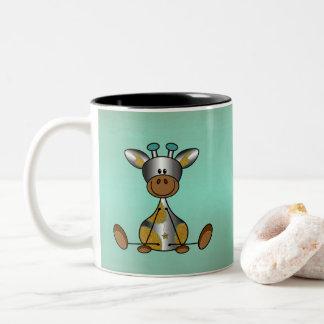 Mok lief en stoer met zilver girafje zweifarbige tasse