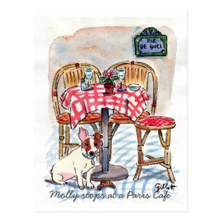 Molly-Halt an einer Paris-Café-Postkarte Postkarte