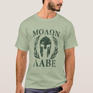 Molon Labe Schmutz-spartanischer Sturzhelm T-Shirt