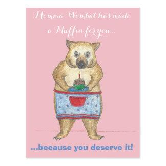 Momma Wombat hat ein Muffin für Sie gemacht Postkarte