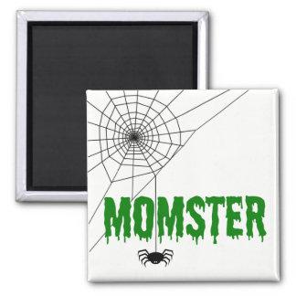 Momster grünes Bratenfett-Schriftart-Spinnen-Netz Quadratischer Magnet
