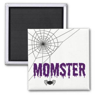 Momster lila Bratenfett-Schriftart-Spinnen-Netz Quadratischer Magnet
