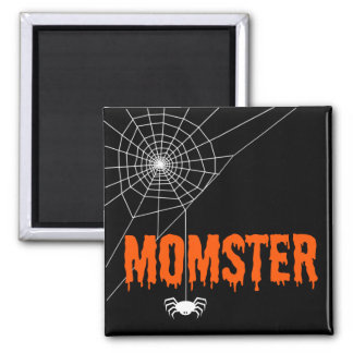 Momster orange Bratenfett-Schriftart-Spinnen-Netz Quadratischer Magnet
