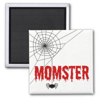 Momster rotes Bratenfett-Schriftart-Spinnen-Netz Quadratischer Magnet