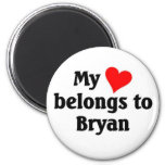 Mon coeur appartient à Bryan Magnets Pour Réfrigérateur
