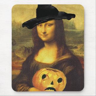 Mona Lisa Hexe-JOL geschnitzter Kürbis-Jack Mousepads