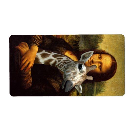 Mona Lisa Liebe-Giraffen Großer Adressaufkleber