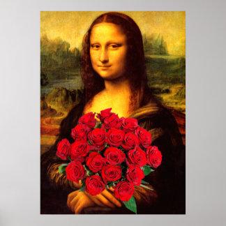 Mona Lisa mit Blumenstrauß der Roter Rosen Poster