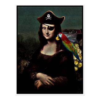 Mona Lisa Piraten-Kapitän Postkarte