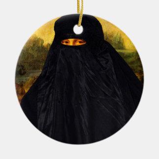 Mona Lisa versteckt hinter Burqa Keramik Ornament