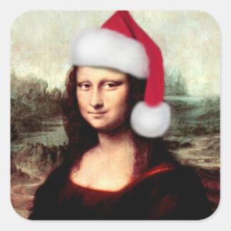 Mona Lisas WeihnachtsWeihnachtsmannmütze Quadratischer Aufkleber