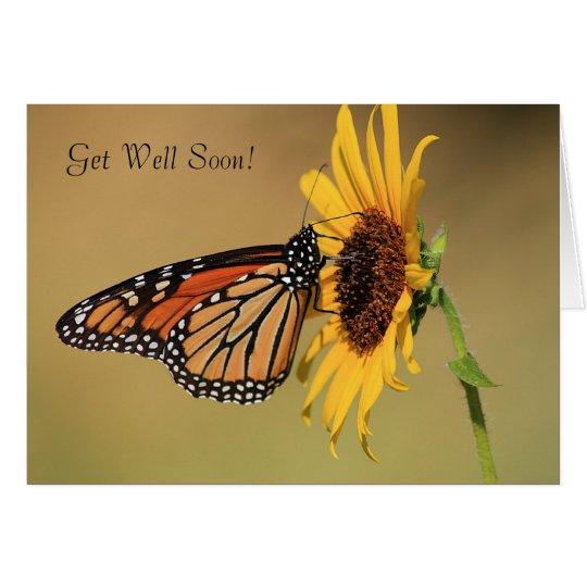 Monarchfalter auf gelber Sonnenblume Karte