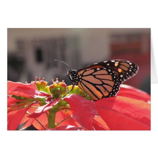Monarchfalter auf Poinsettia Grußkarte