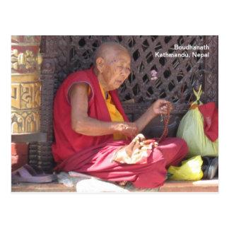 Mönch bei Boudha Stupa Postkarte