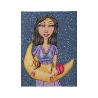 Mond-Gesicht Fantasie-Damen-Purple Dress Sleeping Holzposter