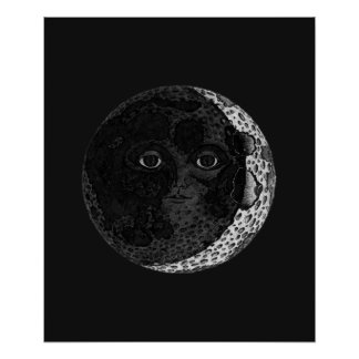 Mond-Gesichts-Illustrations-Plakat Poster