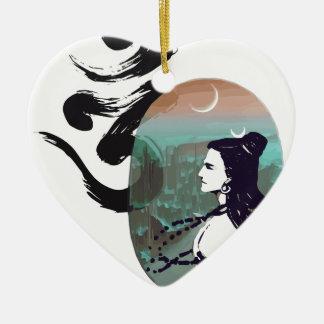Mond steigendes Shiva Keramik Herz-Ornament