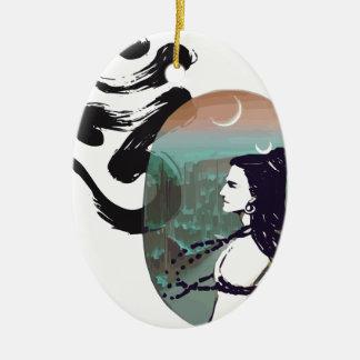 Mond steigendes Shiva Ovales Keramik Ornament