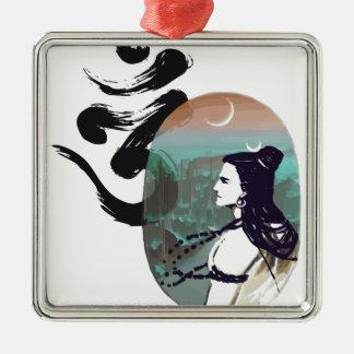 Mond steigendes Shiva Quadratisches Silberfarbenes Ornament