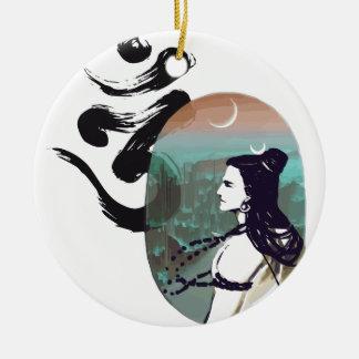 Mond steigendes Shiva Rundes Keramik Ornament