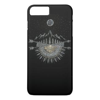 Mond-und Stern-Himmels-Gebirgszug-Mandala iPhone 8 Plus/7 Plus Hülle