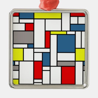 Mondrian Artentwurf Silbernes Ornament