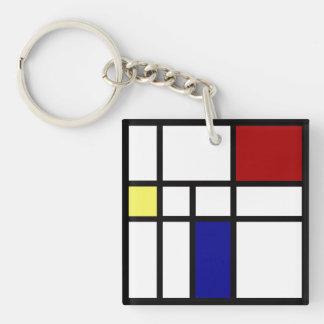 Mondrian inspirierte Entwurf Schlüsselanhänger
