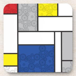 Mondrian unbedeutende De Stijl Kunst-Retro Kreise Getränk Untersetzer