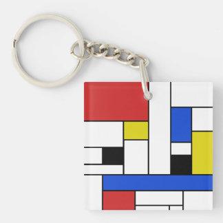Mondrian zeichnet Quadrat (doppelseitiges) Schlüsselanhänger