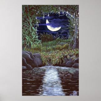 Mondschein fällt Acrylmalerei-Kunst-Druck Poster