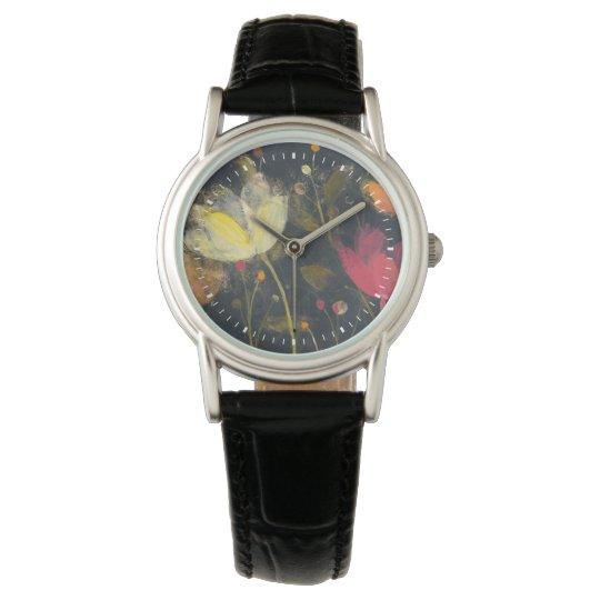 Mondschein-Garten auf Schwarzem Armbanduhr